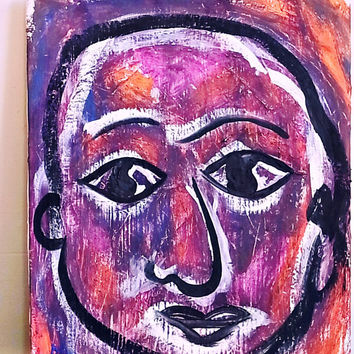 Original Acrylic Paining of Man by Brian Done Vivid Colors Purples Magenta Oranges