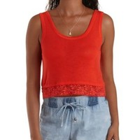 Lace-Trim Swing Crop Top by Charlotte Russe