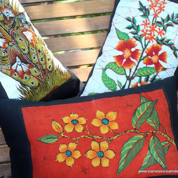 Lumbar Pillow In Sri Lankan Hand Drawn Batik Floral Boho Cushion