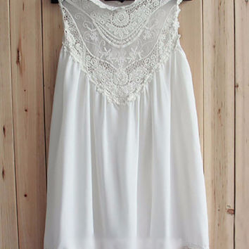 White Lace Applique Sleeveless Pleated A-Line Mini Dress