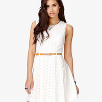 Pleated Eyelet Dress w/ Skinny Belt