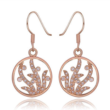 18K Rose Gold Circular Tree Branch Drop Down Earrings Made with Swarovksi Elements