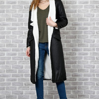 Battalion Faux Leather & Shearling Duster Coat