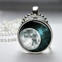 Photo Art Glass Bezel Pendant Full Moon Necklace