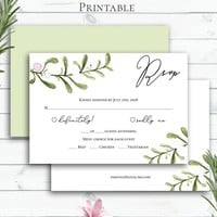 Greenery Wedding RSVP Insert Card, Personalized, Customized Printable, Rustic Watercolor Enclousre Card, Response Card, Nature Invites
