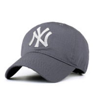 MLB Hat Light Gray NY Embroidered Unisex Adjustable Outdoor Baseball Cap Hat