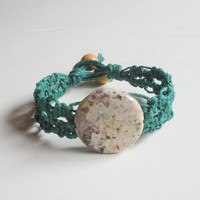 Large Lacy Green Hemp Bracelet with Ocean Jasper Focal Bead, ready to ship.