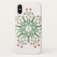 Spring Flowers Ink Drawn Mandala Monogram iPhone X Case
