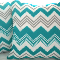 pillow cover 18 x 18, Decorative Teal grey white chevron. Outdoor throw pillow