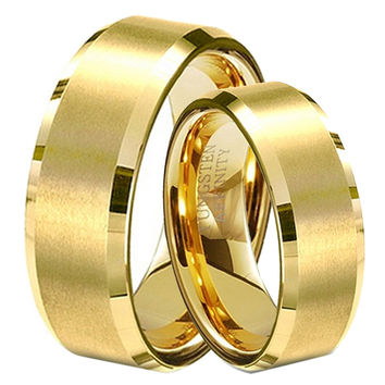 Christmas Gift Gold Plated Tungsten Lovers Wedding Bands 1 Pair Couples Promised Rings Set Alliance Size 4-14 TU051RC