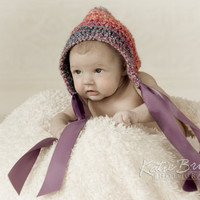 Crochet Pixie Baby Girl Bonnet with Ribbon Ties Newborn 0-3 Month or 3-6 Month Perfect Newborn Girl Photo Prop Available in Different Colors