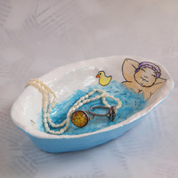 Ring dish / Trinket tray / Paper bowl / Bathing lady trinket plate / Eco Chic storage / Hostess gift / Spring