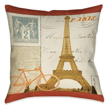 Postcard From Paris II Indoor Decorative Pillow