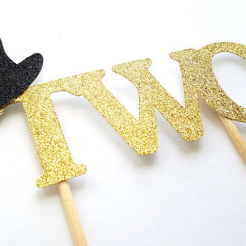 Two Cake Topper, Second Birthday Cake Topper, Cupcake Topper, 1st 2nd Birthday, Top Hat, Glitter Gold Silver, Party Decor, Baby Boy Girl