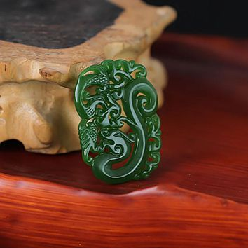 KYSZDL natural Hotan green stone Hollow The wind Dragon Pendant Necklace men and women Gift jewelry