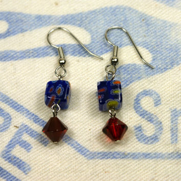 Blue Millefiori Earrings with Red Accents Dangle Flower Floral Glass Bicone Silver Yellow White Unique Handmade Jewelry by o2designs