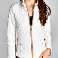 Autumn Breeze Ivory Quilted Jacket