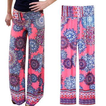 Women Mid-Waisted Printed Wide Leg Exumas Pants = 1841865668