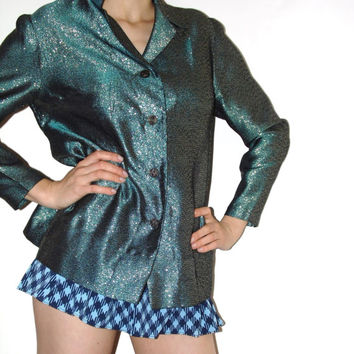 Green Golden Glitter jacket VTG 70s jacket Sparkle Party Clothing Metallic  Disco Club jacket Green blazer