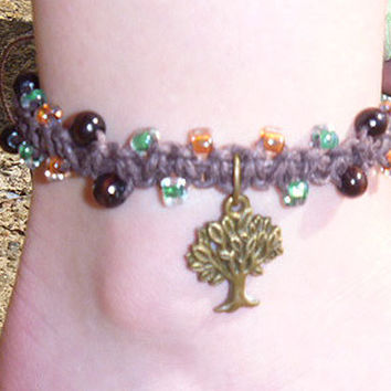 Cute Earthy Colored Brass Tree Hemp Bracelet or Anklet  2 handmade jewelry  hippie