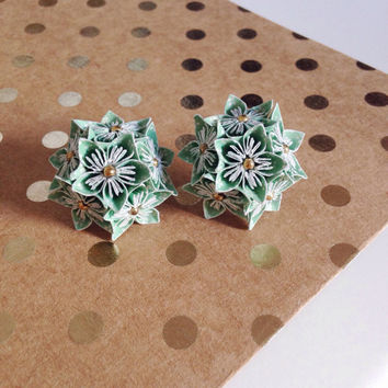 MINI ORIGAMI EARRINGS - Turquoise patterned Multi Flower Earrings - Wedding fashion, Handmade, Floral Jewelry, Gifts for Her