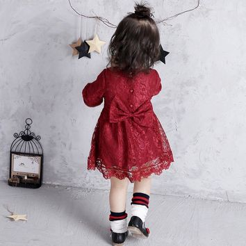 Baby Girl Dress Newborn Clothes Summer Flower Lace Bow Dresses For Girls Princess Kids Dress 1st Birthday Party Wedding Clothing