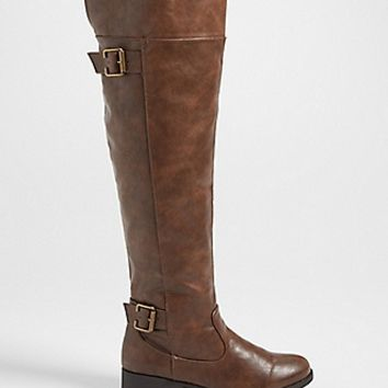 Saige over the knee faux leather boot in brown | maurices