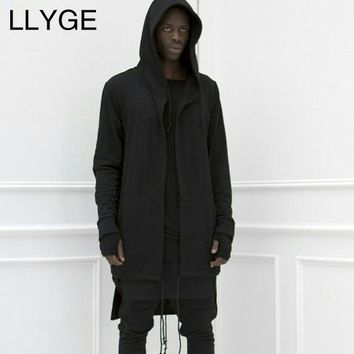 Men Hooded Cloak Sweatshirt 2018 Autumn Hip Hop Mantle Hoodies Jackets Mens Streetwear Gothic Black Long Hoodies Outwear 3XL