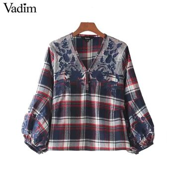 Lace Patchwork V Neck Plaid Shirts Floral Embroidery Lantern Sleeve Vintage Blouse Casual Cute Chic Tops Blush