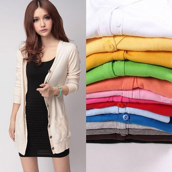 Free Size C y Color Casual Slim Knitted Sweater Women Fall V-Neck Long Sleeve Single Breasted Sweaters Cardigans SM6