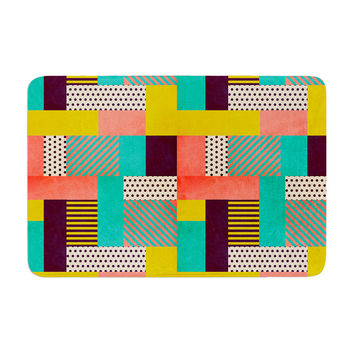 "Louise Machado ""Geometric Love"" Pattern Abstract Memory Foam Bath Mat"