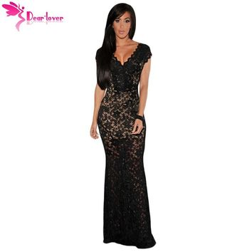 Dear Lover Sexy Party Gowns Vintage Sexy Summer V-neck Black Lace Nude Illusion Low Back Dress Vestidos Largos de Verano LC6676