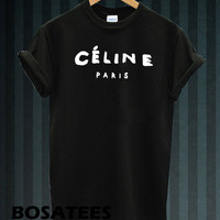 Celine Paris t-shirt printed black and white colour unisex size (BS-89)