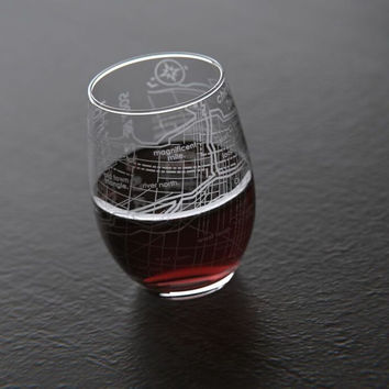 Chicago 26.2 - Marathon Map Stemless Wine Glass
