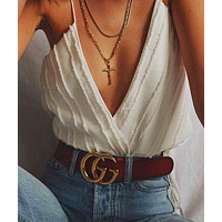 GUCCI Woman Fashion Smooth Buckle Leather Belt