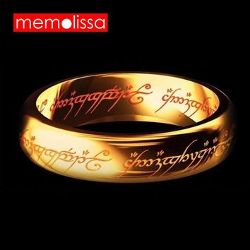 MeMolissa Jewelry Hobbit Letter Rings Black/Gold/Silver Stainless Steel the Lord One Rings Titanium Steel 6MM Men Rings