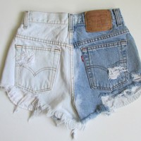 Half Bleached Denim Cutoff Shorts