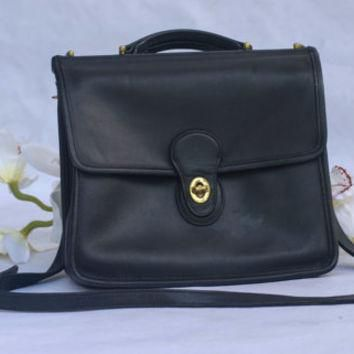 Vintage 90¡¯s Coach Soft Black Leather Willis Crossbody Bag/Messenger Bag