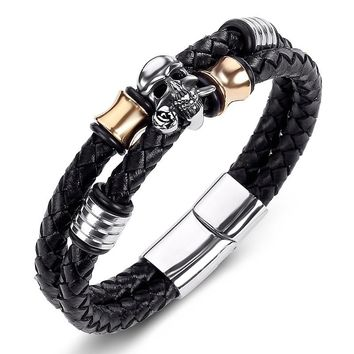 Punk Leather Bracelet Stainless Steel Spades A / Skull Charm Bracelets Men's Jewelry Woven Rope Chain Party Gift 19/21/23cm