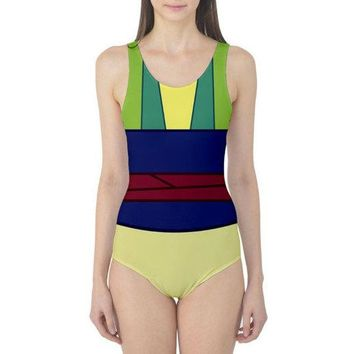 Green Mulan Inspired One Piece Swimsuit