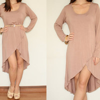High Low Dress Loose Fit dress Long Sleeve Dress in Pink for Women
