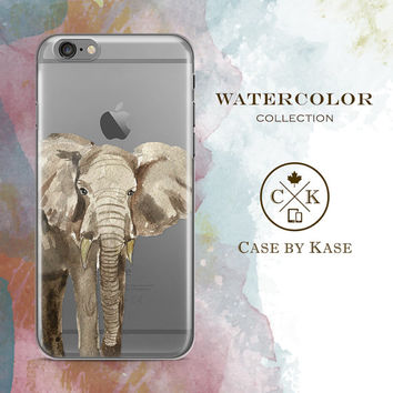 Watercolor Elephant - Clear iPhone 6 Case, iPhone 6s Case, iPhone 6 Plus Case, iPhone 6s Plus Case, Samsung Galaxy Case (WA0002)
