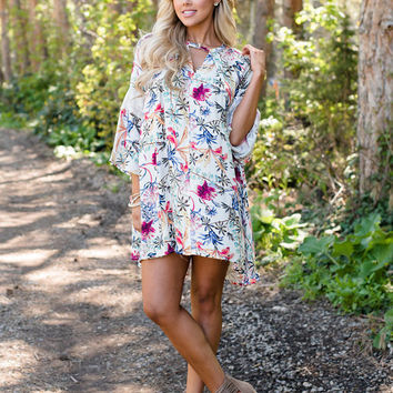 Living Without You Floral Dress Ivory