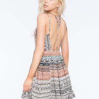 Patrons Of Peace Strappy Babydoll Dress Multi  In Sizes