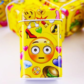 12-Pcs Emojis Small Tin Jewelry,  Candy, Pill, Container Gift Box