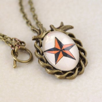 Nautical Star Necklace tattoo jewelry sailor jerry antique bronze swallow oval pendant rockabilly old school