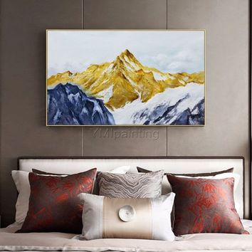 Snow mountains Peaks Abstract Oil painting on canvas modern Gold Heavy Texture extra large original wall painting for living room Home Decor