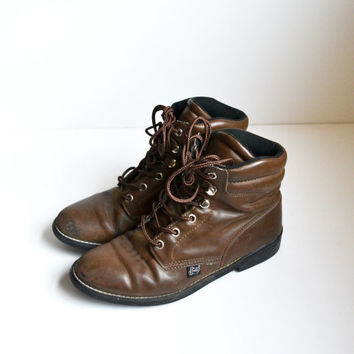 Vintage Brown Leather Roper Boots Justin Lace up Lacer Boots Ankle Boots Size 6 C