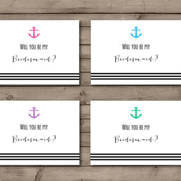 Will You Be My Bridesmaid Bright Anchor Cards: INSTANT DOWNLOAD