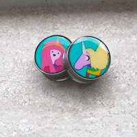 "Adventure Time Lady Rainicorn & Princess Bubblegum - One PAIR - Sizes 2g, 0g, 00g, 7/16"", 1/2"", 9/16"", 5/8"", 3/4"", 7/8"", 1"" - Made To Order"